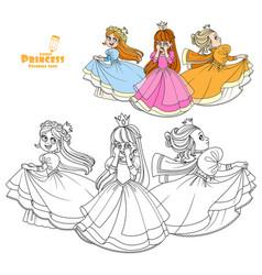 Three very cute princesses playing hide and seek vector