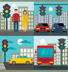 traffic lights semaphore banner set flat style vector image