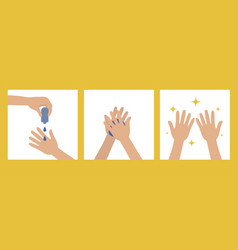 washing hands with antiseptic products prevention vector image