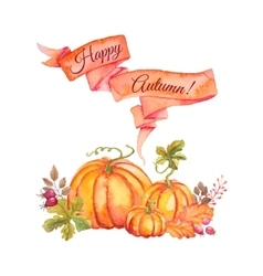 Watercolor pumpkins with leaves and ribbon vector