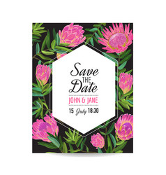 Wedding invitation template with protea flowers vector
