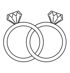 wedding rings jewelry diamonds unity vector image