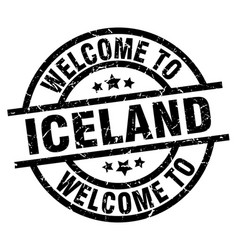 Welcome to iceland black stamp vector