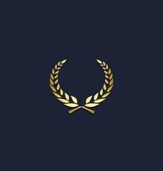 wheat emblem ornament gold logo vector image