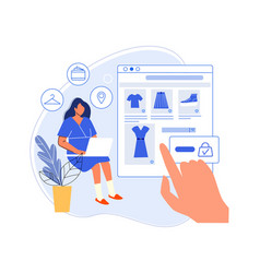 Woman choose clothes on online web store vector