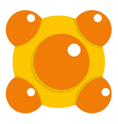 Yellow and orange molecules icon isolated vector