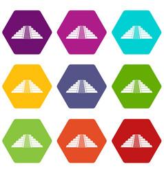 Ziggurat in chichen itza icon set color hexahedron vector