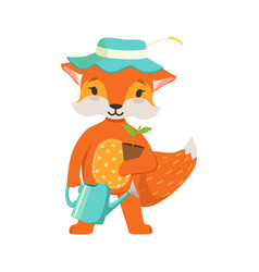 cute orange fox gardener character funny cartoon vector image