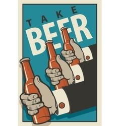hands with bottles of beer vector image vector image