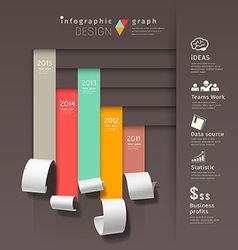 Show colorful paper roll infographics graph vector image vector image
