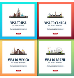 visa to usa canada mexico brazil document for vector image