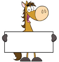 Horse Cartoon Character Holding A Banner vector image vector image
