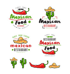 mexican food labels badges and design elements vector image vector image