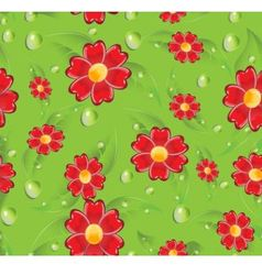 Seamless red flowers vector image vector image