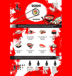 sushi and seafood dishes menu template design vector image vector image