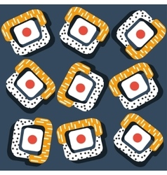 sushi pattern on dark background flat style vector image