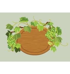 Wooden oval frame with green grapes and leaves vector image vector image