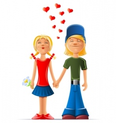 cartoon boy and girl in love vector image vector image