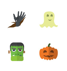 flat icon halloween set of monster gourd zombie vector image vector image