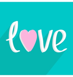 Love word with heart Long shadow flat design style vector image vector image