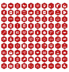 100 dialog icons hexagon red vector