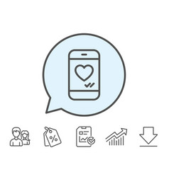 Phone with heart line icon social media like vector