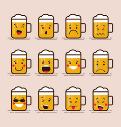 set cute flat design glass of beer character with vector image vector image