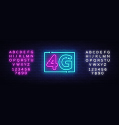 4g new wireless internet wifi connection neon sign vector