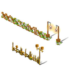 a set of fragments of a wooden fence decorated vector image