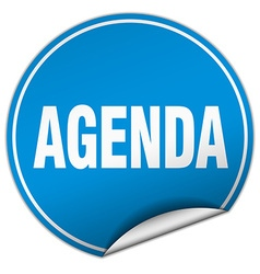 Agenda round blue sticker isolated on white vector