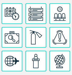 airport icons set with reception suitcase scanner vector image