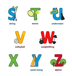 alphabet sport from S to Z vector image