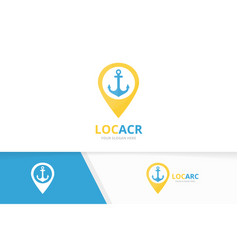 anchor and map pointer logo combination vector image