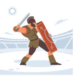 Ancient greek warrior fighting in combat vector