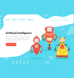 artificial intelligence landing page template vector image