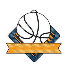 basketball ball emblem vector image