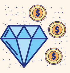 big diamond and dollar coins treasure image vector image