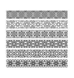 Black borders with arabic pattern vector