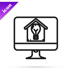 black line computer monitor with smart house and vector image