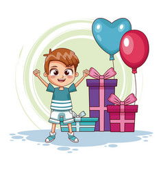 boy with birthay gifts and balloons vector image
