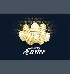 bunch golden easter eggs background design vector image