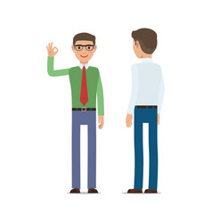 businessmen showing ok gesture flat vector image