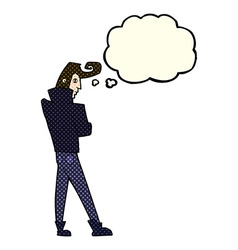 Cartoon cool guy with thought bubble vector