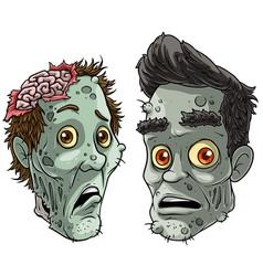 Cartoon halloween pale zombie monsters characters vector