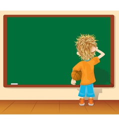 Cartoon little boy and blackboard vector image
