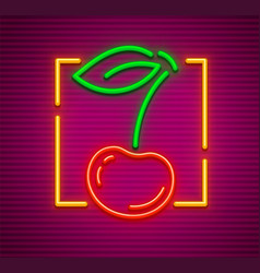 Cherry neon sign with berry vector