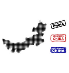Chinese inner mongolia map in halftone dot style vector