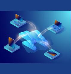 Cloud data storage isometric vector