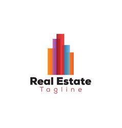 colorful real estate building logo template vector image