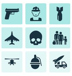Combat icons set collection cranium ordnance vector